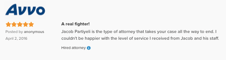 Avvo Recommended Attorney Jacob O. Partiyeli Eviction Defense Fighter