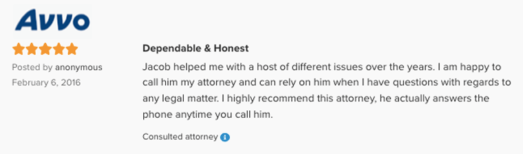 Avvo Recommended Lawyer Jacob O. Partiyeli Dependable and Honest