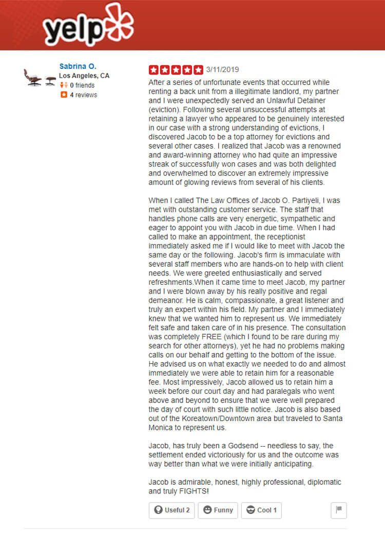 Unlawful Detainer Eviction Help Attorney Jacob O. Partiyeli Law Firm in Los Angeles Yelp Review from Sabrina O. in Los Angeles, CA